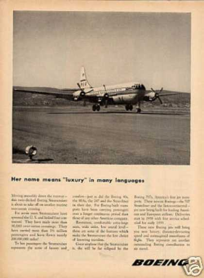 "Boeing Stratocruiser Ad ""Her Name Means... (1956)"