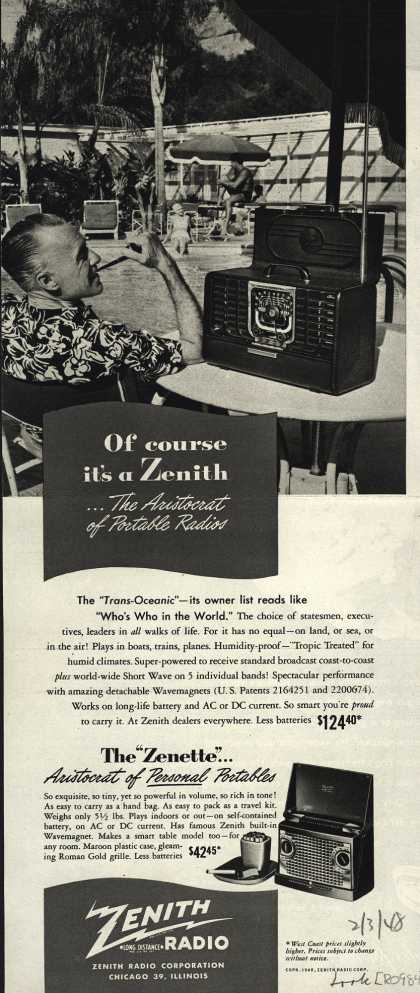 "Zenith Radio Corporation's ""Zenette"" Radio – Of course it's a Zenith...The Aristocrat of Portable Radios (1948)"