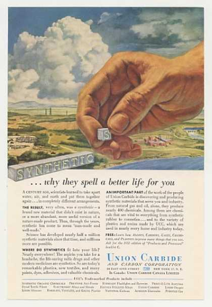 Union Carbide Synthetics Spell Better Life Hand (1955)