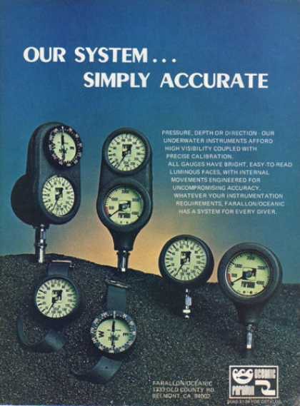 Farallon Modular Instruments Diver Gauges (1979)