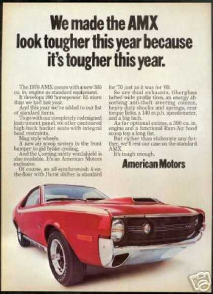 Red AMX American Motors Vintage Photo (1970)