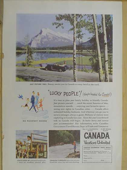 Canada Vacations Unlimited. Lucky People. Tourism ad. (1947)