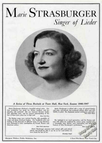 Marie Strasburger Photo Singer of Lieder Trade (1946)