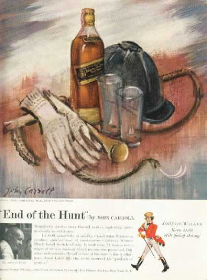 Johnnie Walker Whisky Ad Hunting John Carroll Art (1955)
