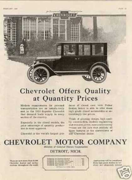 "Chevrolet Car Ad ""Chevrolet Offers Quality... (1923)"
