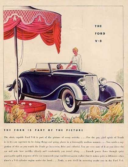 "Ford Car Color Ad ""The Ford Is Part Of... (1934)"