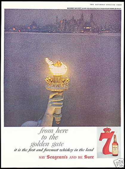 Statue of Liberty Flame NY Seagram's 7 Whiskey (1959)