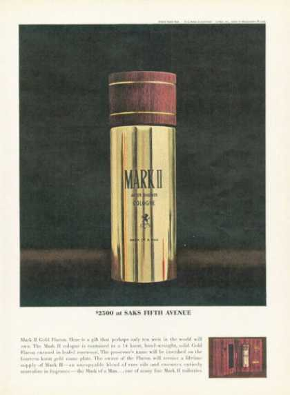 Saks Fifth Avenue Mark Ii Gold Flacon Cologne (1961)