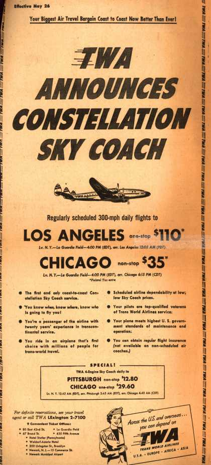 Trans World Airline's Constellation Sky Coach – TWA Announces Constellation Sky Coach (1950)
