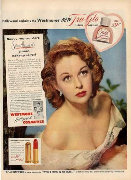 Westmore Hollywood Cosmetics Susan Haward Ad T (1952)