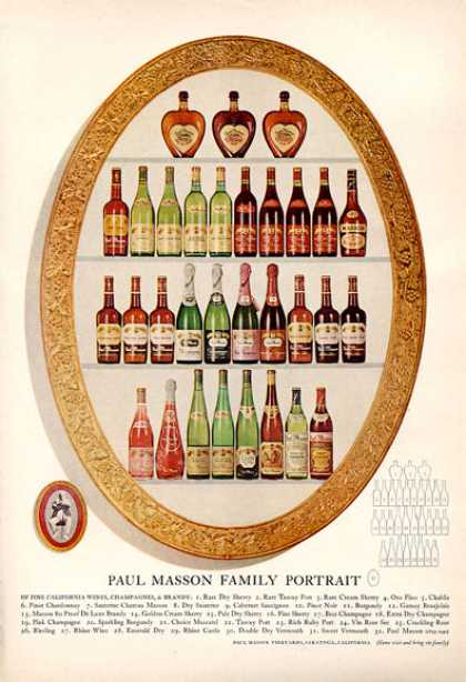 Paul Masson Wines Champagnes Brandy Bottles (1964)