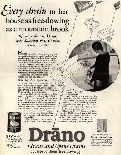 Drackett Chemical Company's Drano – Every drain in her house as free-flowing as a mountain brook (1928)