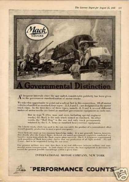 "Mack Truck Ad ""A Governmental Distinction... (1920)"