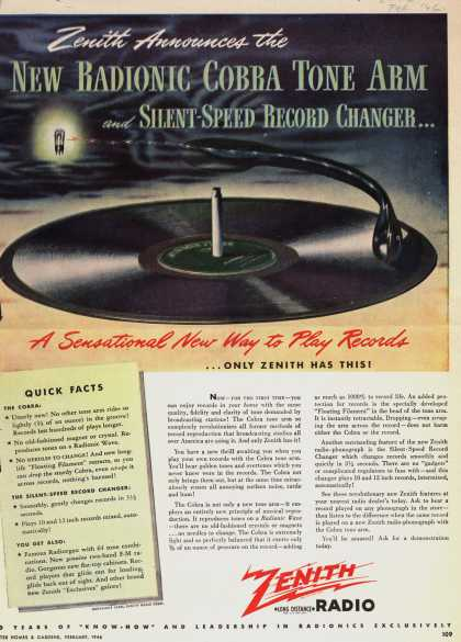 Zenith Radio Corporation's Record Players – Zenith Announces the New Radionic Cobra Tone Arm and Silent-Speed Record Changer... A Sensational Way to Play Records ...Only Zenith Has This (1946)