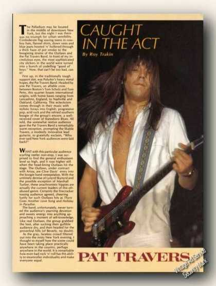 Pat Travers Picture & Collectible Music Article (1979)