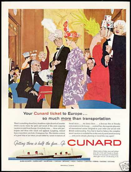 Cunard Cruise Line Ship Europe Headdress Hat (1960)