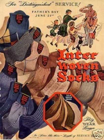 Interwoven Socks Ad Fell Art (1942)