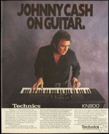 Johnny Cash Photo Technics Keyboard Vintage (1990)