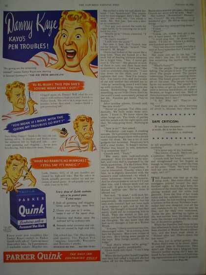 Parker Quink Ink Danny Kaye Kayo's Pen troubles 1/2 pg (1946)