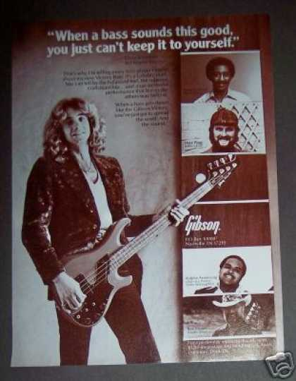 Gibson Bass Guitar Player Dave Kiswiney Photo (1982)