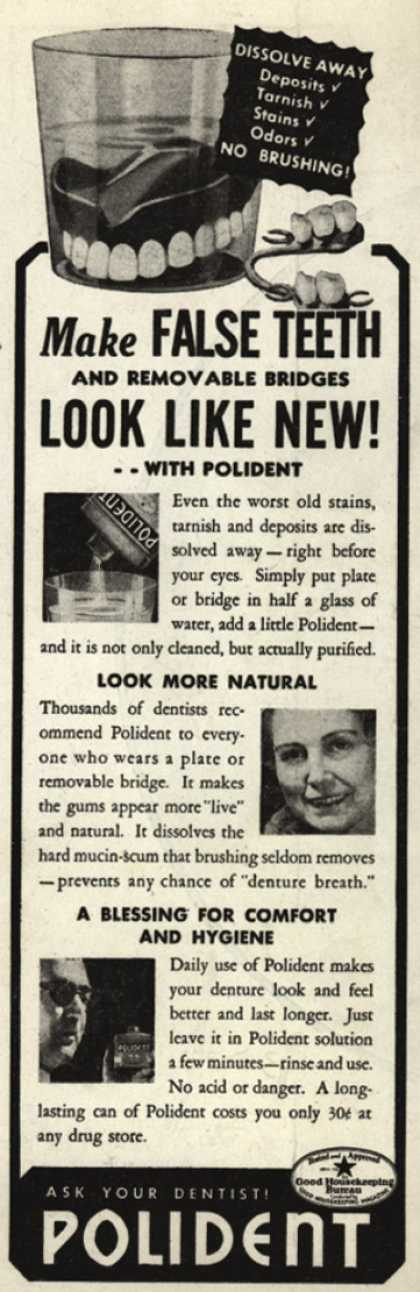 Hudson Product's false teeth powder (dentures) – Make False Teeth and removable bridges Look Like New (1938)