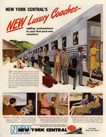New York Central Railroad Company's Luxury Cars – New York Central's NEW Luxury Coaches-adding enchantment to your first post-war vacation (1946)