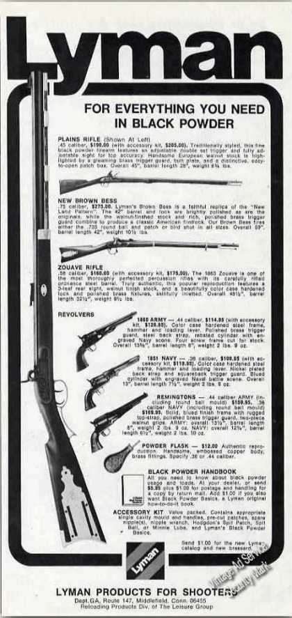 Lyman Black Powder Guns Middlefield Ct (1974)