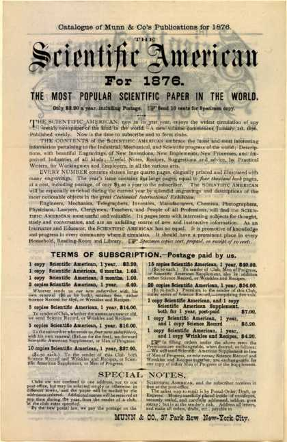 Munn & Co.'s Scientific American – The Scientific American for 1876 (1876)