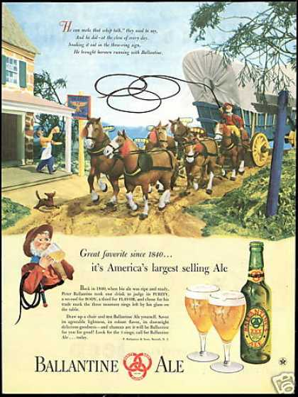 Horse Covered Wagon Whip Ballantine Ale Beer (1947)