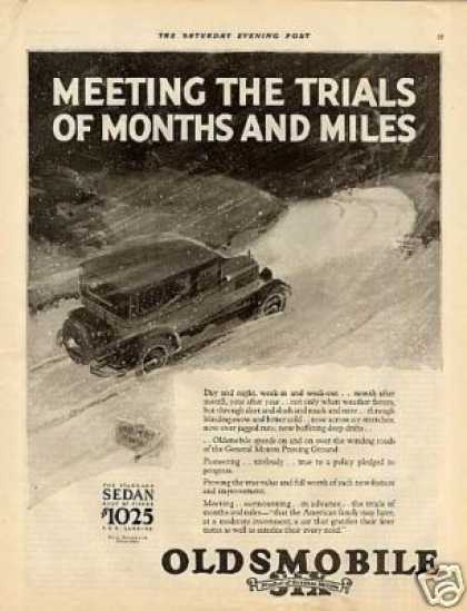 "Oldsmobile Six Car Ad ""Meeting the Trials... (1927)"