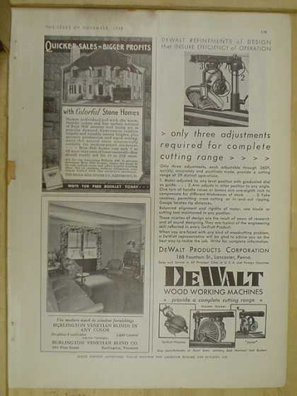 DeWalt woodworking AND Burlington Venetian Blinds (1930)