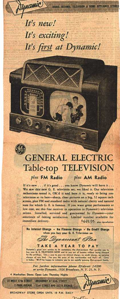 General Electric Company's Table-top Television – It's new! It's exciting! It's first at Dynamic (1948)