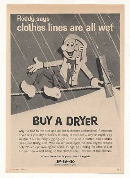 Reddy Kilowatt Clothes Lines Wet Buy Dryer PG&E (1960)