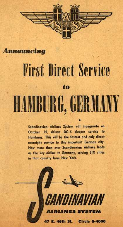 Scandinavian Airlines System's Direct Service to Hamburg, Germany – Announcing First Direct Service to Hamburg, Germany (1949)
