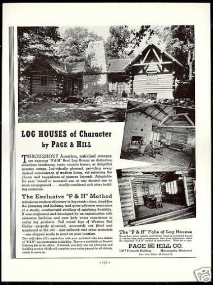 P & H Page & Hill Co Real Log Houses Photo (1938)