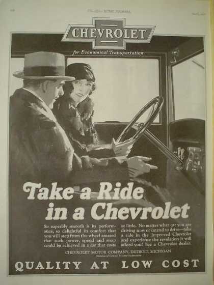 Chevrolet Quality at a low cost Take a ride in a Chevrolet (1926)