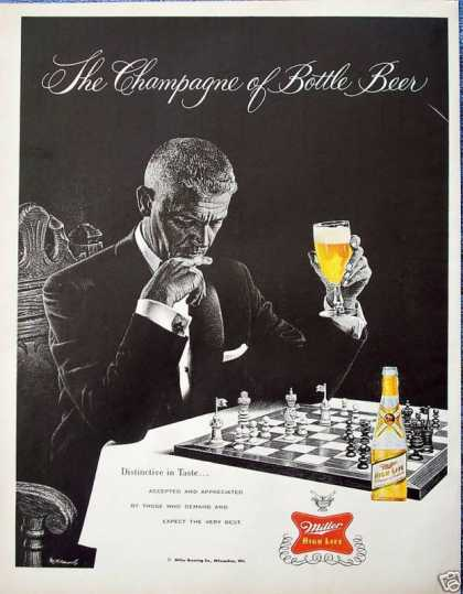 Miller High Life Beer Man Chess Board Elegant Suit (1958)