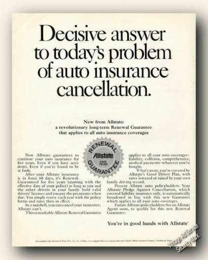 Answer To Auto Insurance Cancellations Allstate (1967)