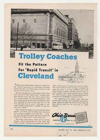 Cleveland Ohio Brass Trolley Coach Photo (1952)