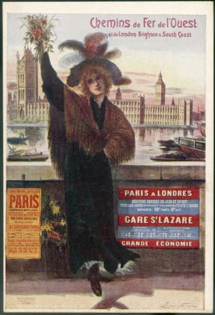 By Rail and Sea from Paris to Brighton or London Featuring a Flower-Seller and Westminster 7 of 8