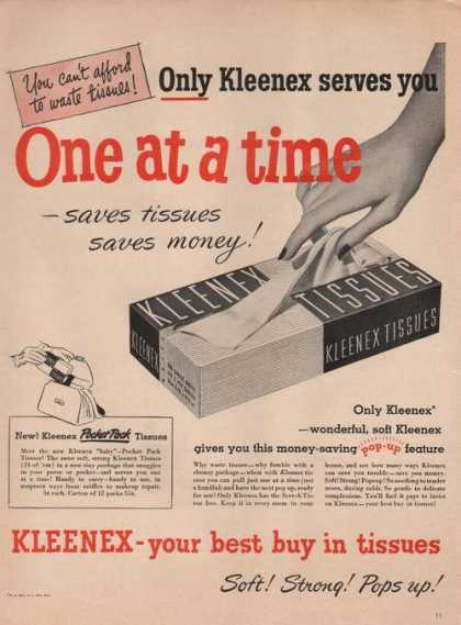 Kleenex One at a Time Tissues (1949)