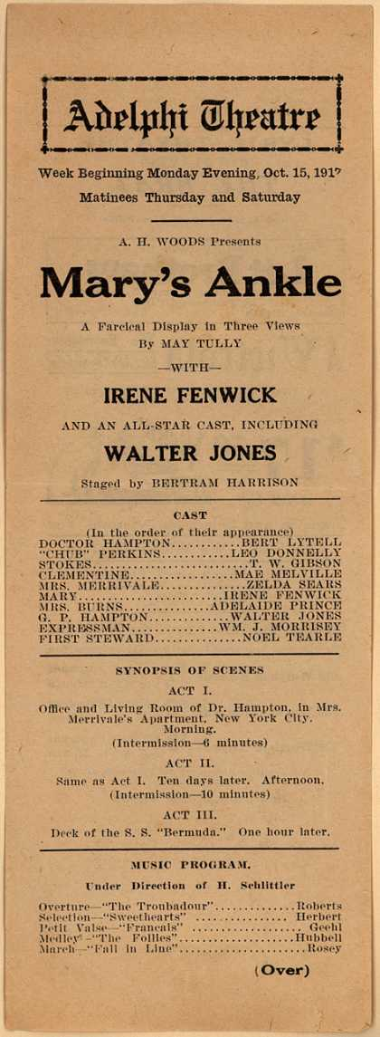 Adelphi Theater's Theater (Adelphi) – Mary's Ankle (1917)