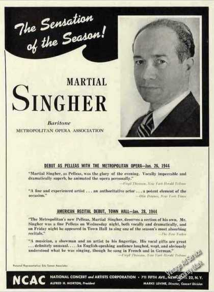 Martial Singher Photo Baritone Opera Booking (1944)