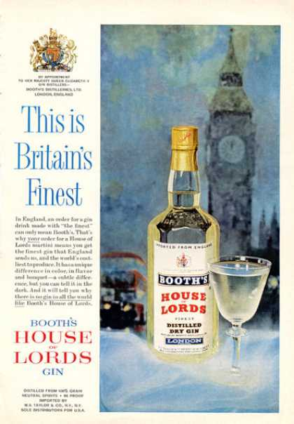 Booth's House of Lords Gin Bottle (1964)