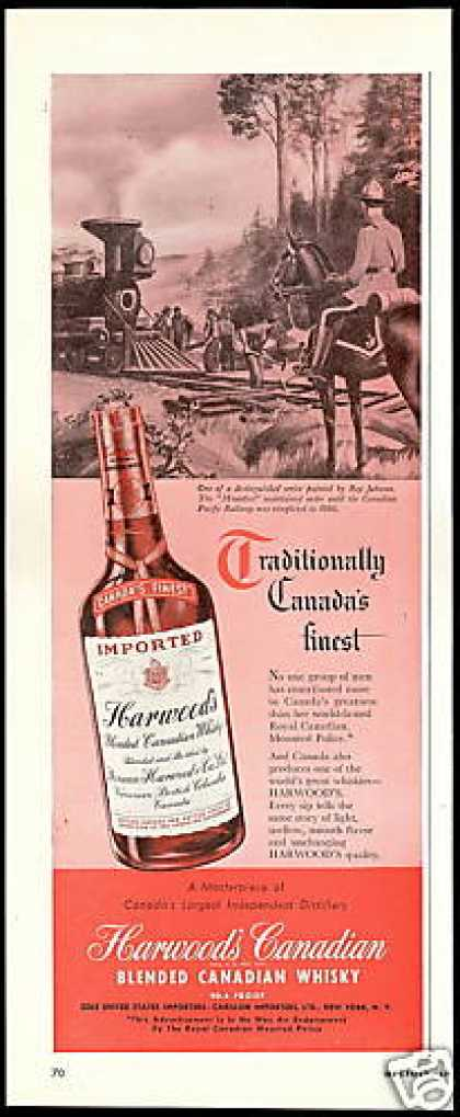 Harwood's Canadian Whisky RCMP Mountie (1949)