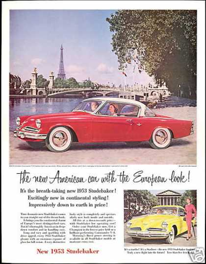 Eiffel Tower Studebaker Starliner 2 Car Photo (1953)