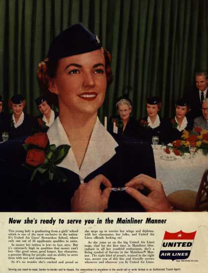 United Air Line's Service in the Mainliner Manner – Now she's ready to serve you in the Mainliner Manner (1953)