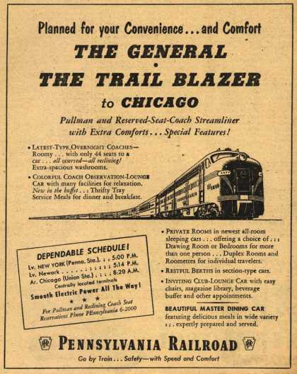 Pennsylvania Railroad's Chicago – Planned for your Convenience...and Comfort. The General. The Trail Blazer to Chicago. (1951)