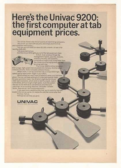 Univac 9200 Computer Tab Equipment Prices (1966)