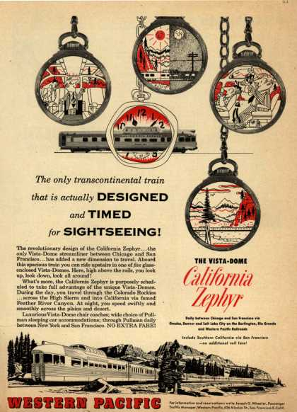 Western Pacific's California Zephyr – The only transcontinental train that is actually Designed and Timed for Sightseeing (1953)
